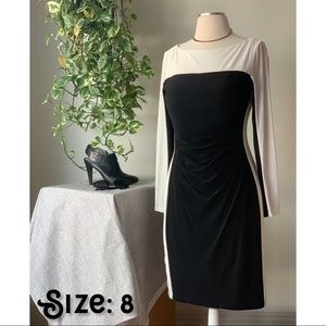 Black & White Dress w/sheer neckline & sleeves